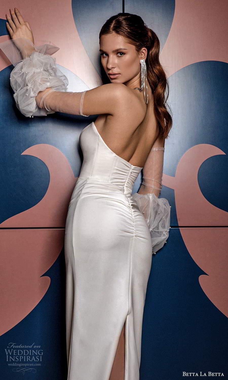 betta la betta 2021 bridal strapless sweetheart neckline clean minimalist sheath tea length wedding dress detached puff sleeves (11) bv