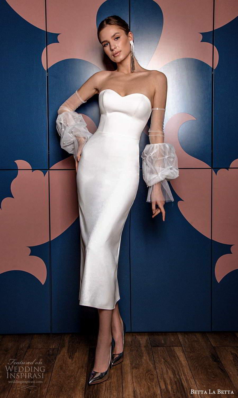 betta la betta 2021 bridal strapless sweetheart neckline clean minimalist sheath tea length wedding dress detached puff sleeves (11) mv