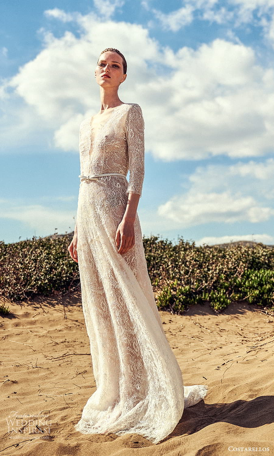 costarellos spring 2022 bridal 3 quarter sleeve plunging v neckline lace a line wedding dress sweep train (16) mv