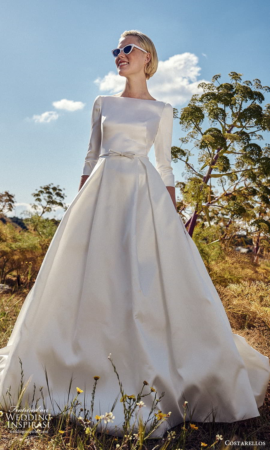 costarellos spring 2022 bridal 3 quarter sleeves bateau neckline clean minimalist a line ball gown wedding dress chapel train (24) mv