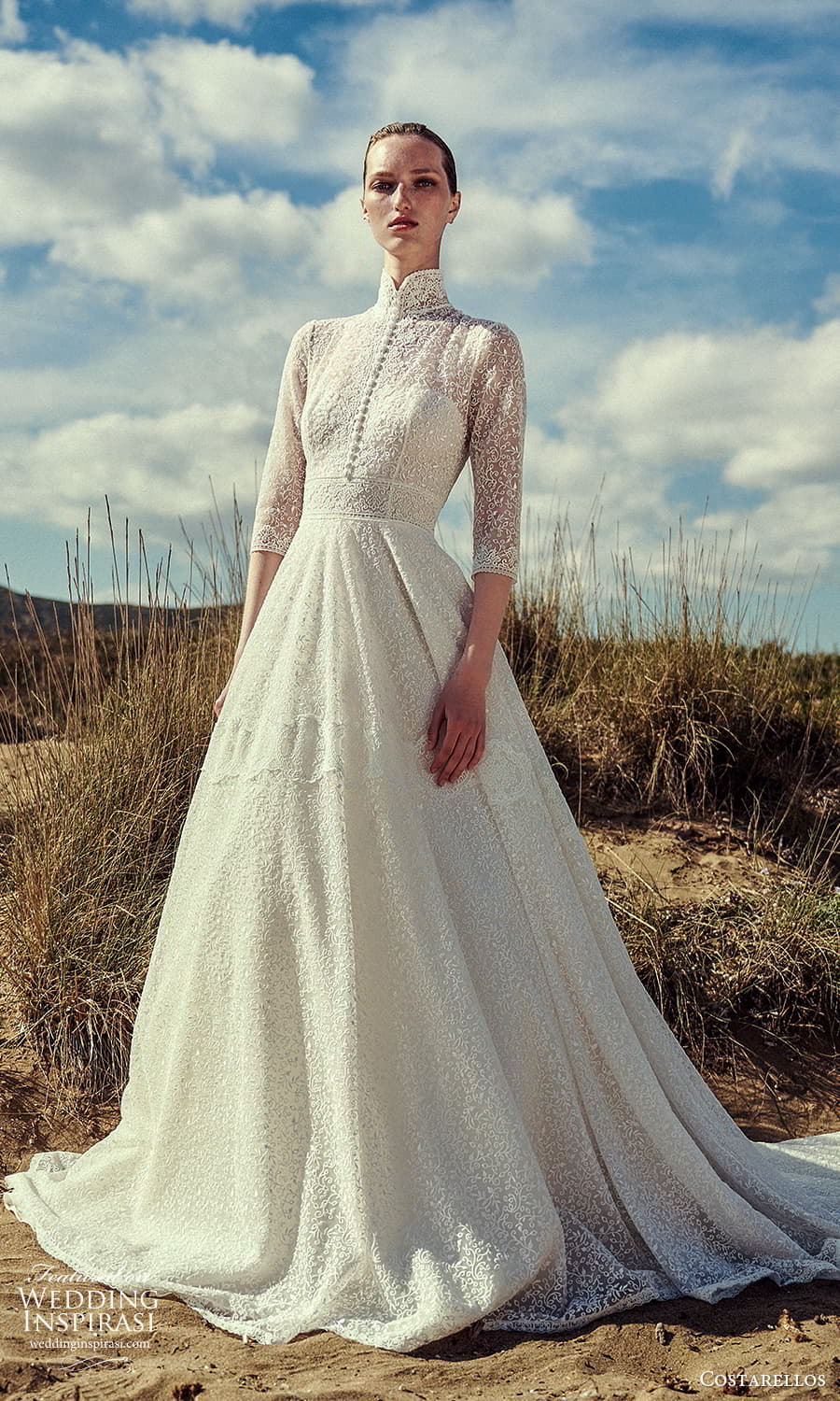 costarellos spring 2022 bridal 3 quarter sleeves high stand collar neckline fully embellished a line ball gown wedding dress chapel train (23) mv