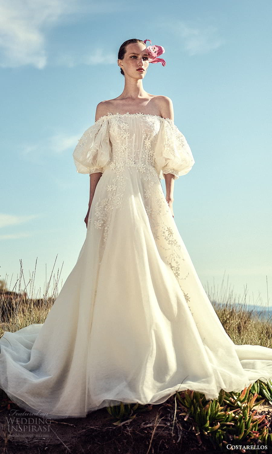 costarellos spring 2022 bridal elbow length puff sleeve straight across neckline embellished a line ball gown wedding dress chapel train (8) mv