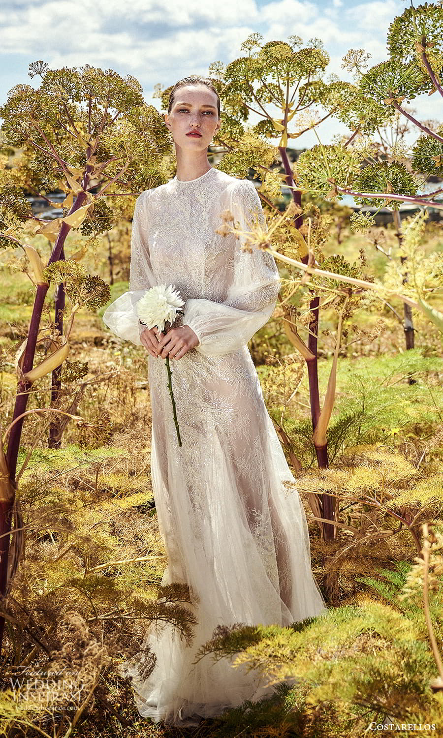 costarellos spring 2022 bridal long bishop sleeves jewel neckline fully embellished a line wedding dress chapel train (17) mv