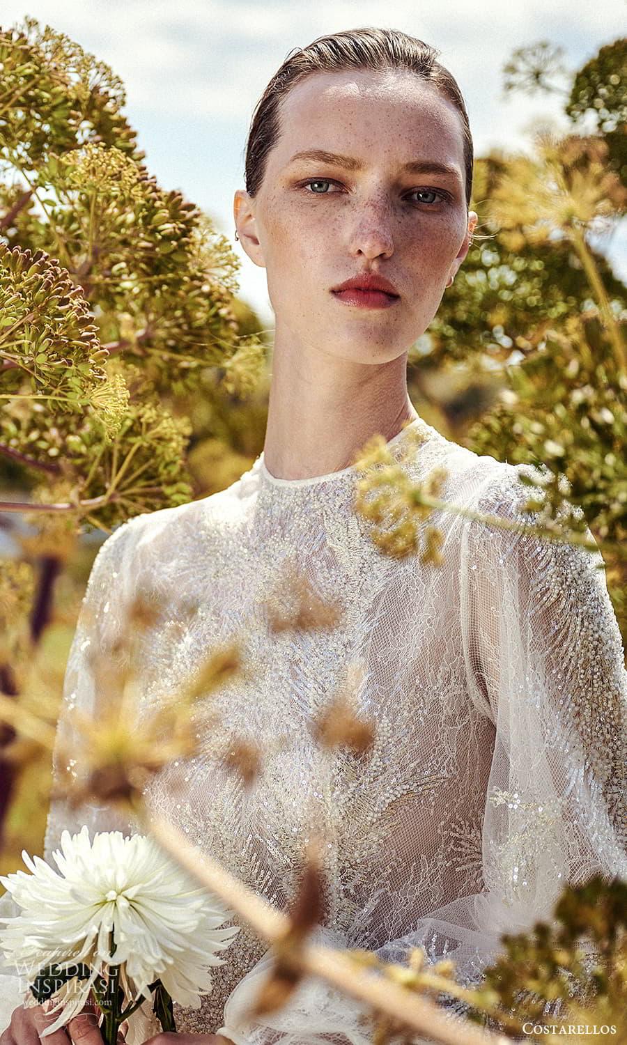 costarellos spring 2022 bridal long bishop sleeves jewel neckline fully embellished a line wedding dress chapel train (17) zv