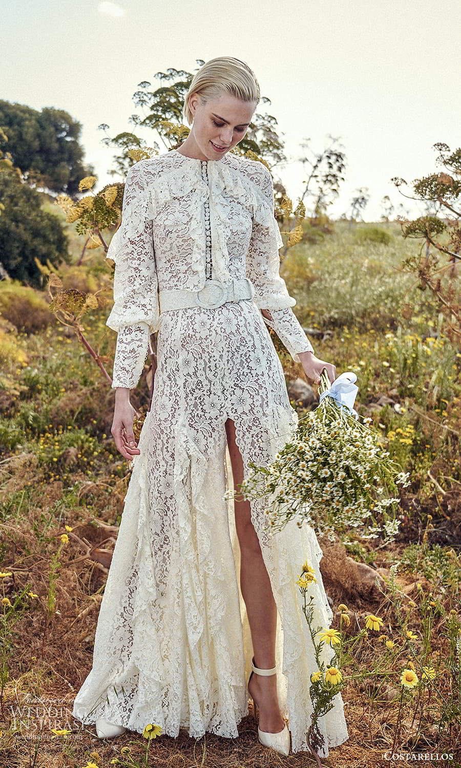costarellos spring 2022 bridal long sleeves jewel neckline fullyembellished lace a line wedding dress slit skirt (21) mv