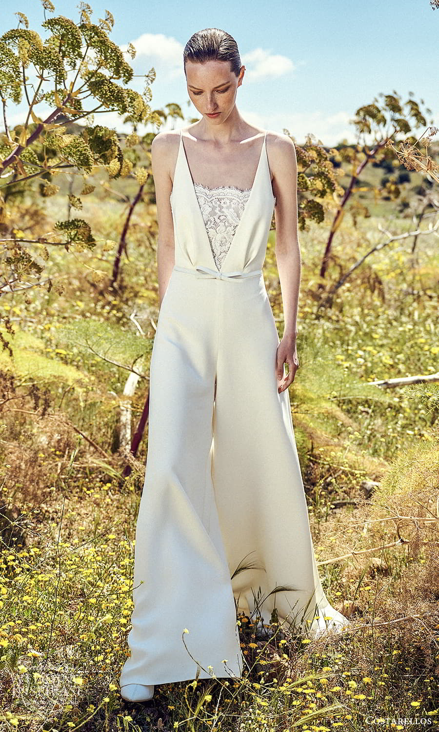 costarellos spring 2022 bridal sleeveless straps v neckline clean minimalist pants jumpsuit wedding dress (14) mv