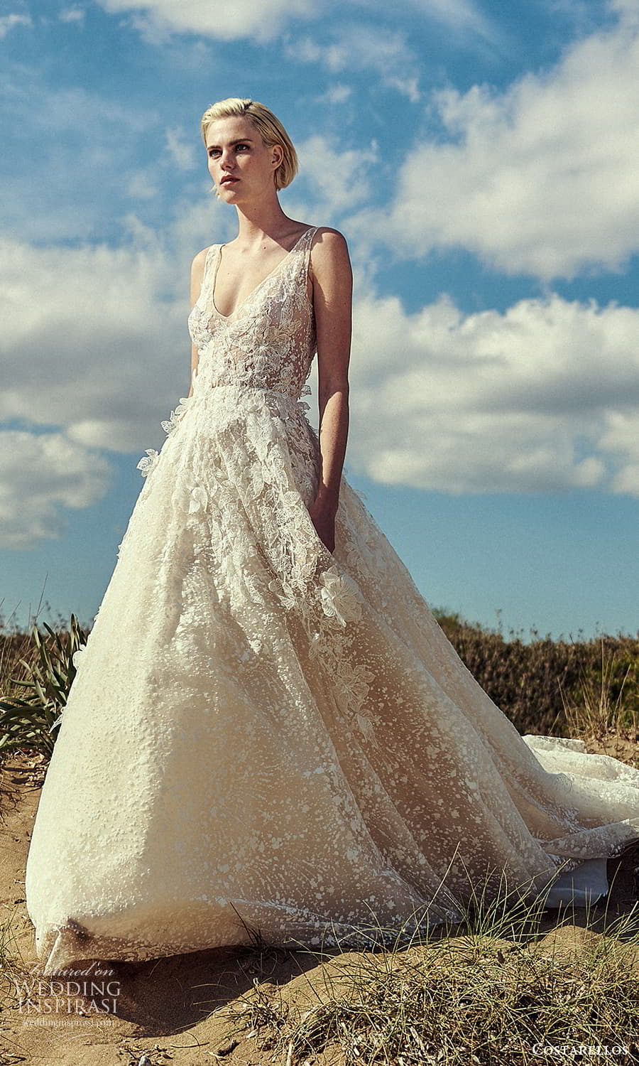 costarellos spring 2022 bridal sleeveless straps v neckline fully embellished a line ball gown wedding dress chapel train (3) mv