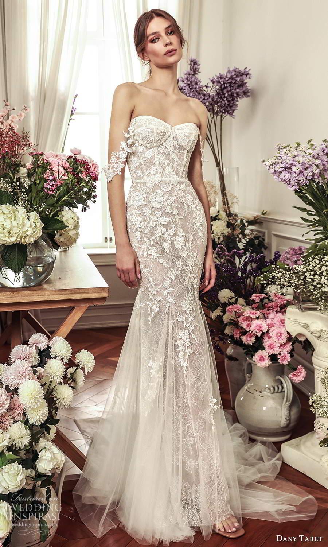 dany tabet 2021 belle fleur bridal detachable off shoulder swag straps strapless sweetheart neckline fully embellished fit flare memaid wedding dress chapel train (1) mv