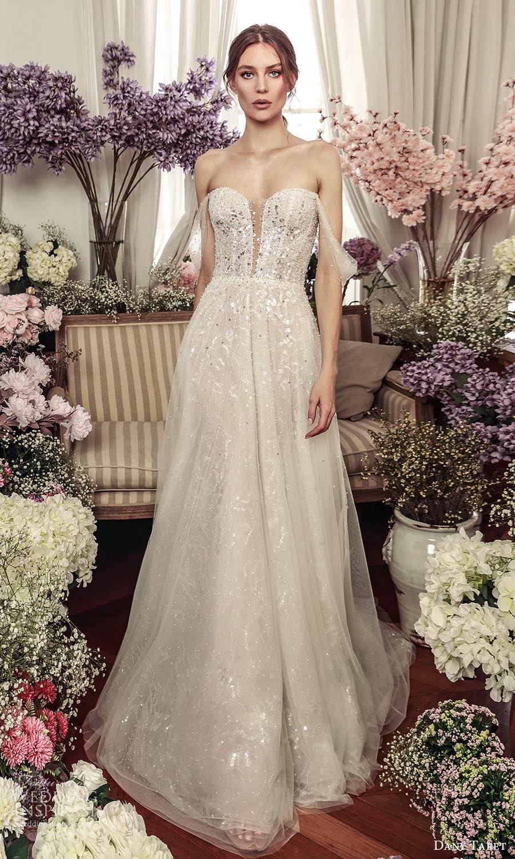 dany tabet 2021 belle fleur bridal off shoulder straps sweetheart neckline heavily embellished a line ball gown wedding dress chapel (18) mv