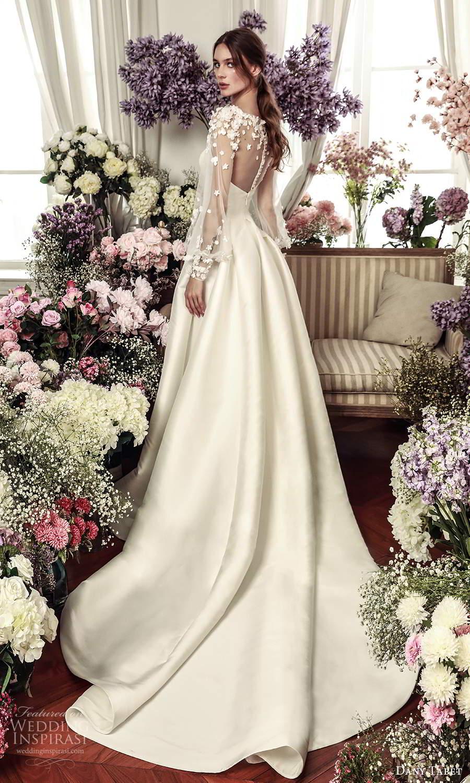 dany tabet 2021 belle fleur bridal sheer billowy long sleeves embellished jewel neckline clean minimalist a line ball gown wedding dress chapel train (9) bv