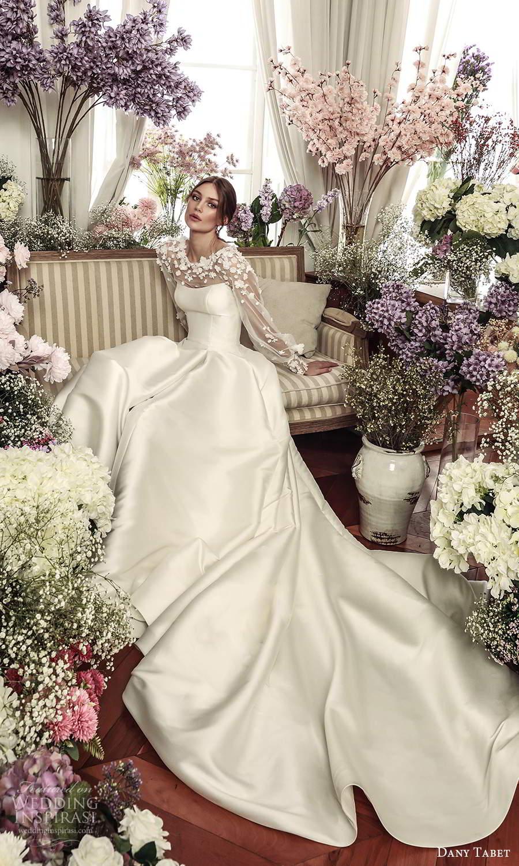 dany tabet 2021 belle fleur bridal sheer billowy long sleeves embellished jewel neckline clean minimalist a line ball gown wedding dress chapel train (9) mv