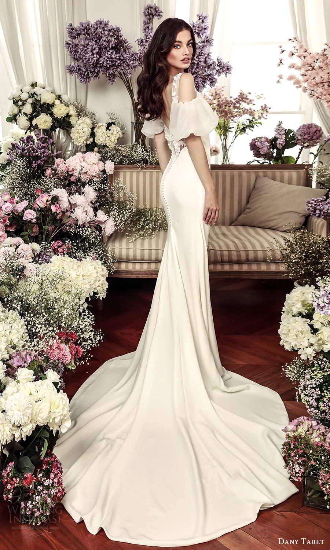 dany tabet 2021 belle fleur bridal short cold shoulder puff sleeve bateau neckline clean minimalist sheath wedding dress chapel train (8) bv