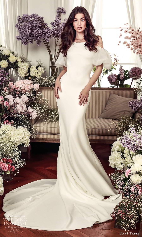 dany tabet 2021 belle fleur bridal short cold shoulder puff sleeve bateau neckline clean minimalist sheath wedding dress chapel train (8) mv
