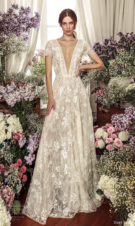 dany tabet 2021 belle fleur bridal short sleeve plunging v neckline fully embellished lace a line ball gown wedding dress chapel train (12) mv