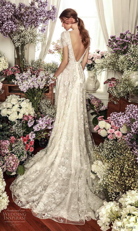 dany tabet 2021 belle fleur bridal short sleeve plunging v neckline fully embellished lace a line ball gown wedding dress chapel train v back (12) bv
