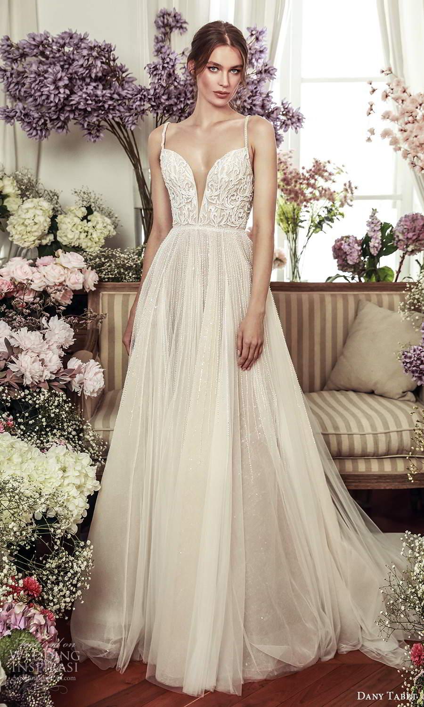 dany tabet 2021 belle fleur bridal sleeveless straps plunging sweetheart neckline embellished bodice a line ball gown wedding dress chapel train (10) mv