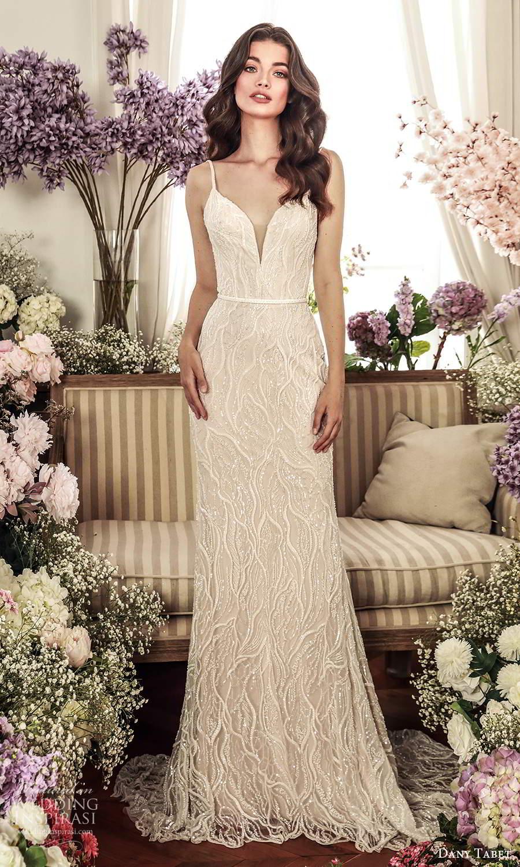 dany tabet 2021 belle fleur bridal sleeveless straps plunging sweetheart neckline fully embellished sheath wedding dress chapel train (16) mv