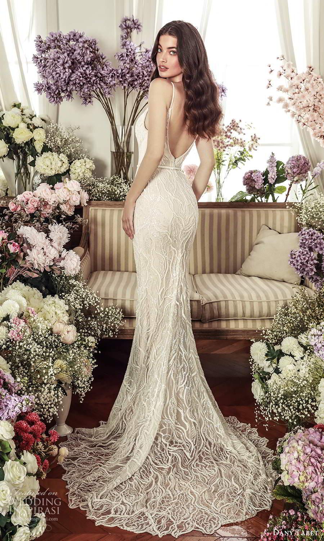 dany tabet 2021 belle fleur bridal sleeveless straps plunging sweetheart neckline fully embellished sheath wedding dress chapel train v back (16) bv