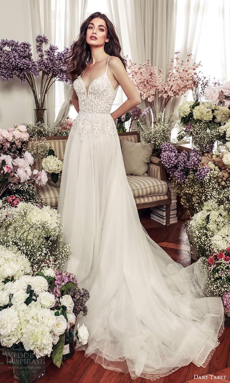 dany tabet 2021 belle fleur bridal sleeveless straps sweetheart neckline embellished bodice a line ball gown wedding dress chapel train (14) mv