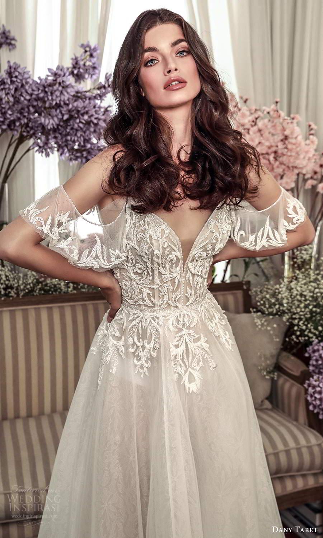 dany tabet 2021 belle fleur bridal sleeveless straps sweetheart neckline embellished bodice a line ball gown wedding dress chapel train (14) zv