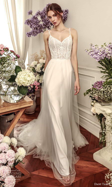 dany tabet 2021 belle fleur bridal sleeveless straps sweetheart neckline embellished bodice clean skirt a line wedding dress chapel train (19) mv