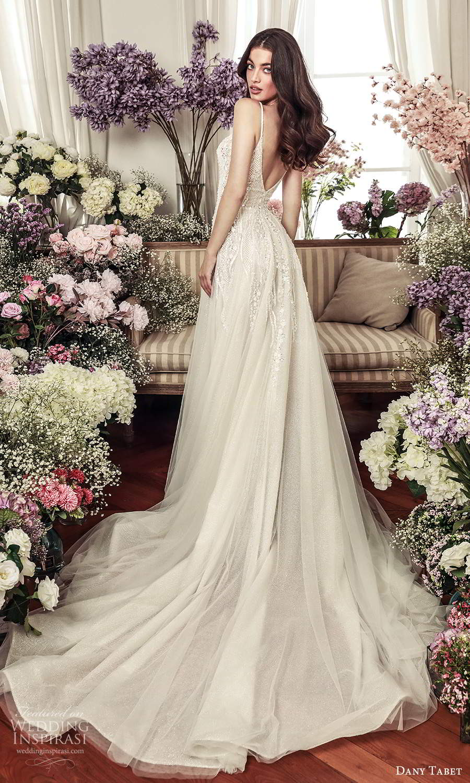 dany tabet 2021 belle fleur bridal sleeveless straps sweetheart neckline heavily embellished a line ball gown wedding dress chapel train plunging v back (17) bv