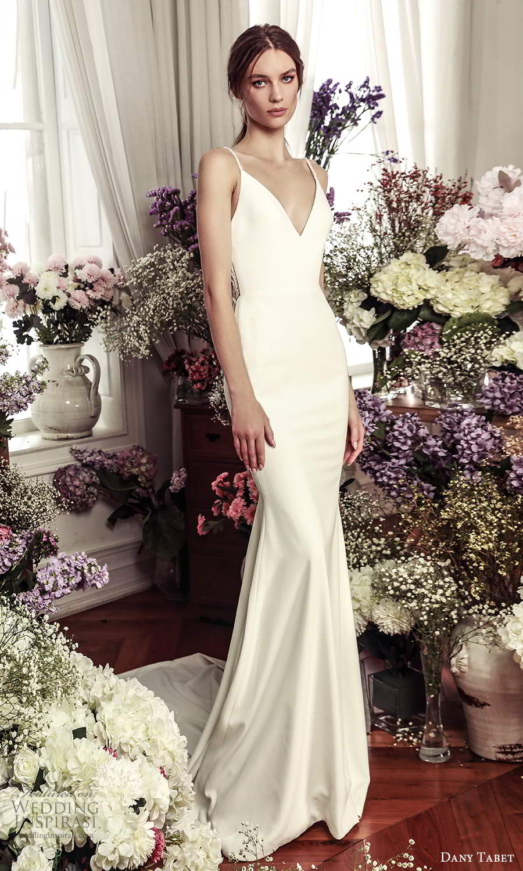 dany tabet 2021 belle fleur bridal sleeveless straps v neckline clean minimalist sheath wedding dress chapel train (6) mv