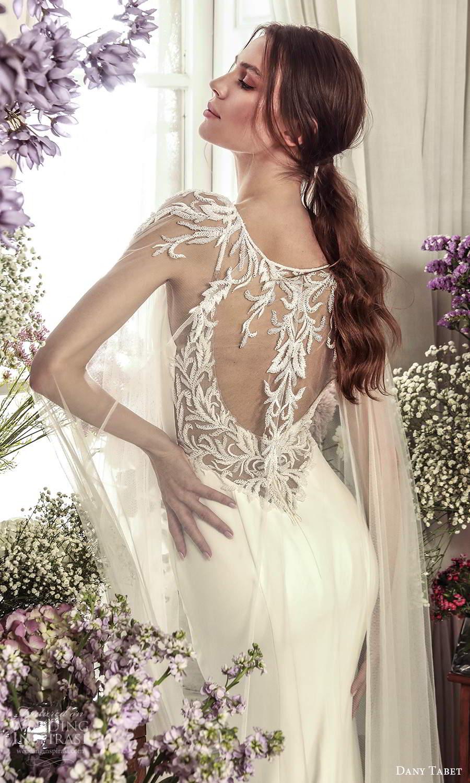 dany tabet 2021 belle fleur bridal sleeveless straps v neckline clean minimalist sheath wedding dress chapel train low back cape (6) zbv