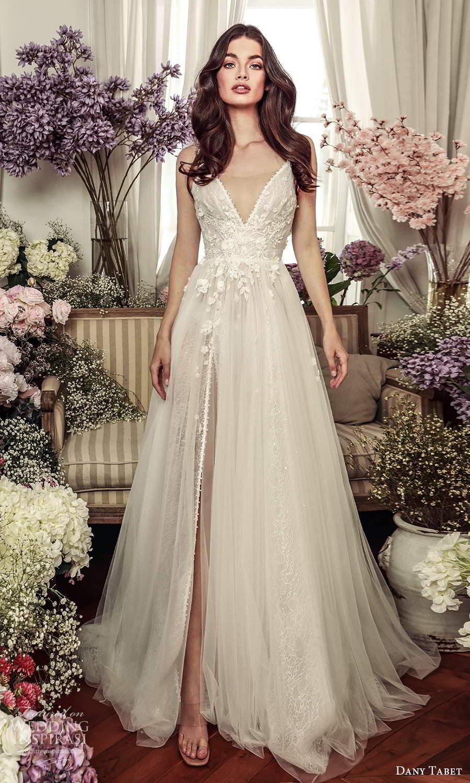 dany tabet 2021 belle fleur bridal sleeveless straps v neckline embellished bodice a line ball gown wedding dress chapel train (15 ) mv