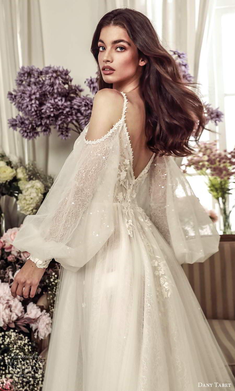dany tabet 2021 belle fleur bridal sleeveless straps v neckline embellished bodice a line ball gown wedding dress chapel train (15 ) zbv