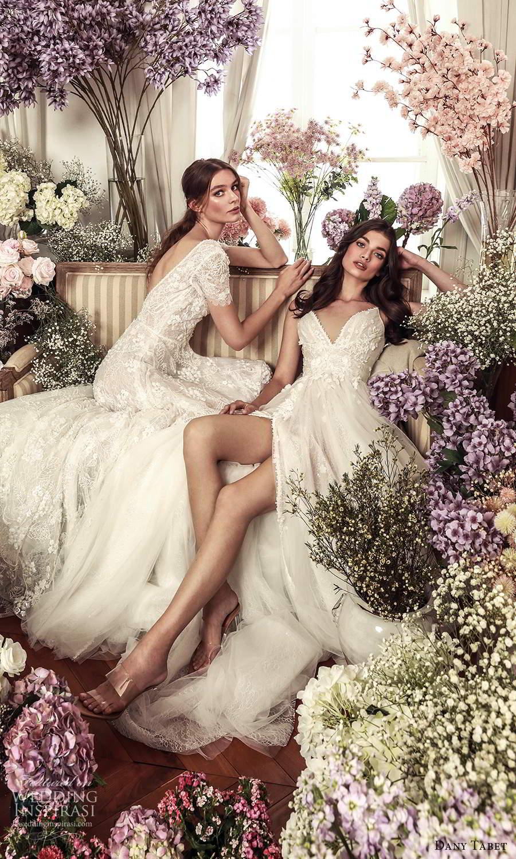 dany tabet 2021 belle fleur bridal sleeveless straps v neckline embellished bodice a line ball gown wedding dress chapel train slit (15 ) fv