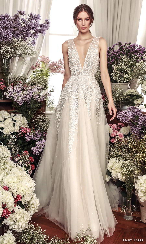 dany tabet 2021 belle fleur bridal sleeveless thickstraps plunging v neckline heavily embellished bodice a line ball gown wedding dress chapel (5) mv