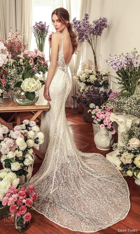 dany tabet 2021 belle fleur bridal sleevless straps sweetheart neckline fully embellished sheath wedding dress chapel train low back (3) bv