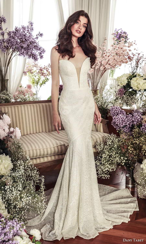 dany tabet 2021 belle fleur bridal strapless plunging sweetheart neckline fully embellished fit flare mermaid wedding dress chapel train (4) mv