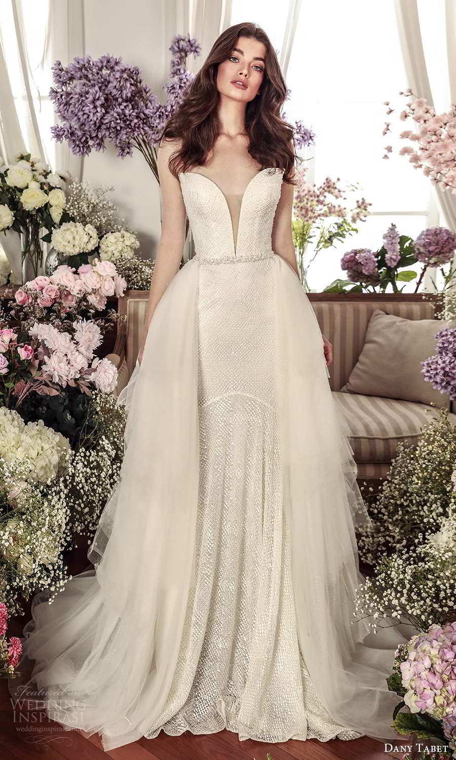 dany tabet 2021 belle fleur bridal strapless plunging sweetheart neckline fully embellished fit flare mermaid wedding dress chapel train a line ball gown overskirt (4) mv