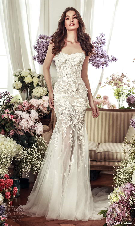 dany tabet 2021 belle fleur bridal strapless semi sweetheart neckline heavily embellished bodice fitflare mermaid wedding dress chapel train (11) mv