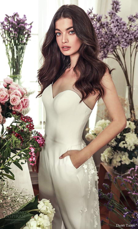 dany tabet 2021 belle fleur bridal strapless sweetheart neckline clean chic pant wedding dress pockets (2) zv