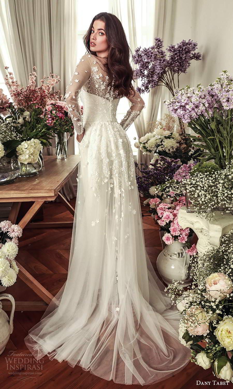 dany tabet 2021 belle fleur bridal strapless sweetheart neckline embellished bodice top clean chic pant wedding dress chapel train (2) bv