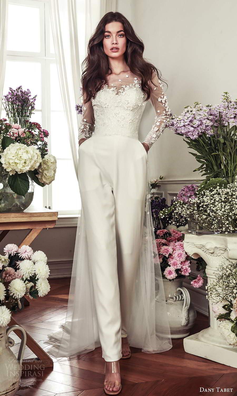 dany tabet 2021 belle fleur bridal strapless sweetheart neckline embellished bodice top clean chic pant wedding dress chapel train (2) mv