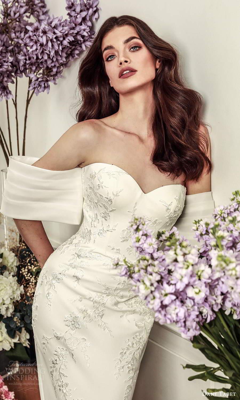 dany tabet 2021 belle fleur bridal strapless sweetheart neckline embellished minimalist sheath wedding dress chapel train (13) zv