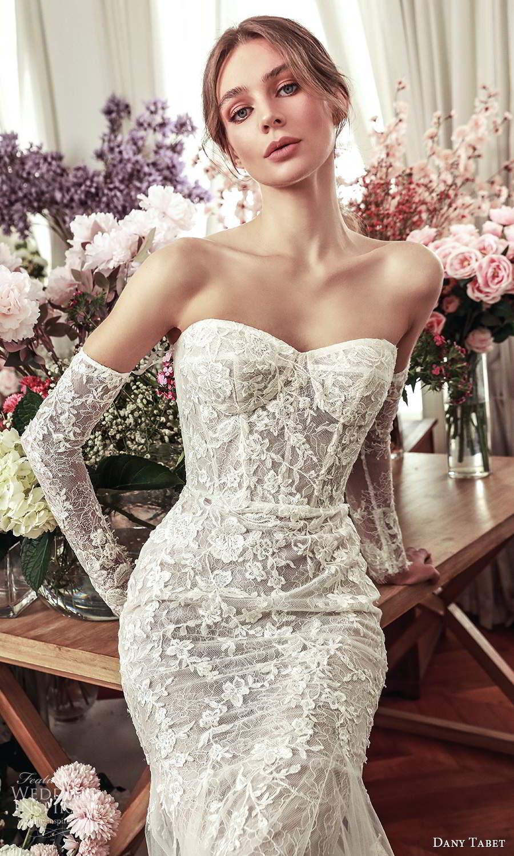 dany tabet 2021 belle fleur bridal strapless sweetheart neckline fully embellished fit flare memaid wedding dress chapel train (1) zv