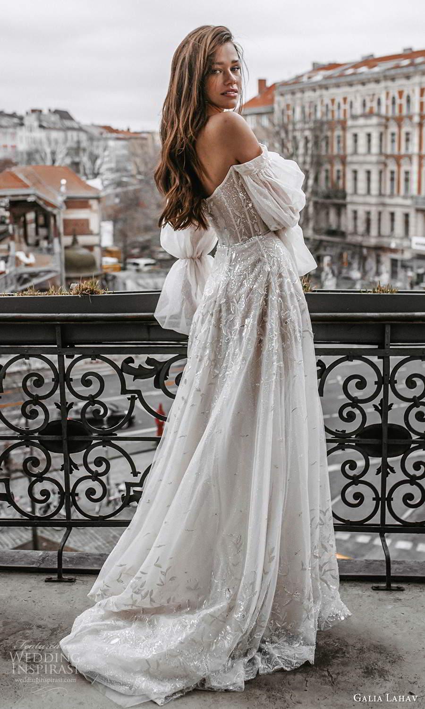 galia lahav spring 2022 gala bridal billowy long puff sleeves off shoulder scoop neckline heavily embellished bodice a line ball gown wedding dress chapel train blush (2) bv