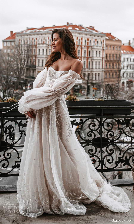 galia lahav spring 2022 gala bridal billowy long puff sleeves off shoulder scoop neckline heavily embellished bodice a line ball gown wedding dress chapel train blush (2) fv