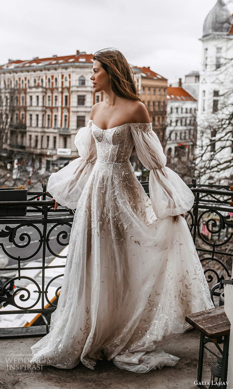 galia lahav spring 2022 gala bridal billowy long puff sleeves off shoulder scoop neckline heavily embellished bodice a line ball gown wedding dress chapel train blush (2) mv