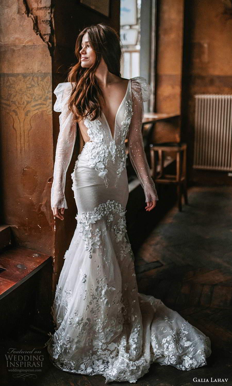 galia lahav spring 2022 gala bridal long puff sleeve plunging v neckline fully embellished fit flare mermaid wedding dress chapel train (6) mv