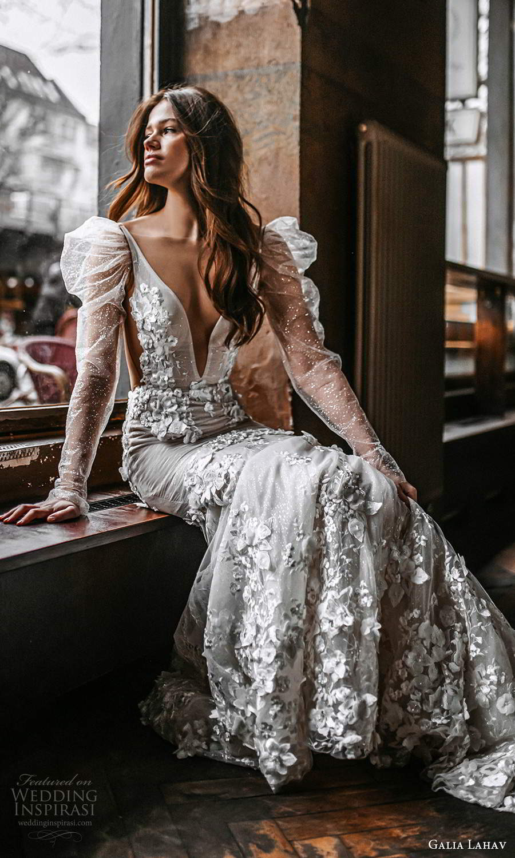 galia lahav spring 2022 gala bridal long puff sleeve plunging v neckline fully embellished fit flare mermaid wedding dress chapel train low back (6) fv