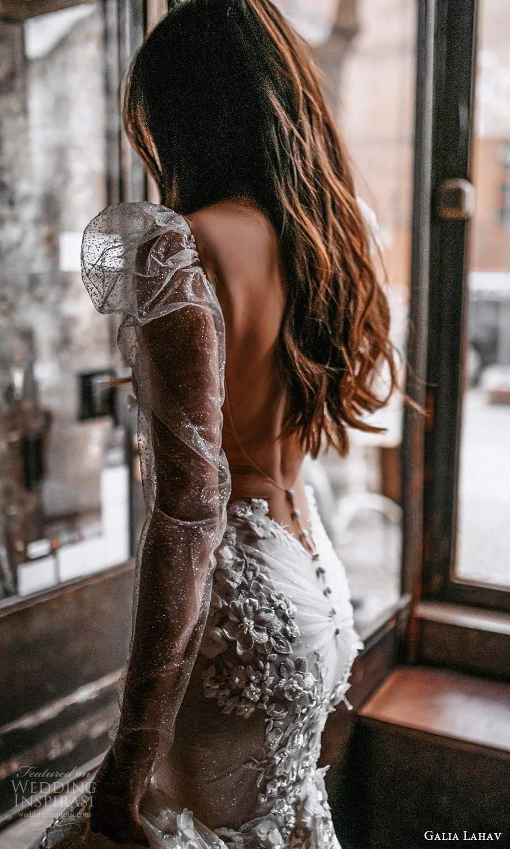 galia lahav spring 2022 gala bridal long puff sleeve plunging v neckline fully embellished fit flare mermaid wedding dress chapel train low back (6) zbv