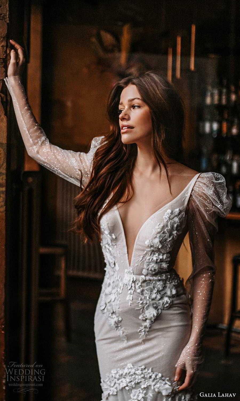 galia lahav spring 2022 gala bridal long puff sleeve plunging v neckline fully embellished fit flare mermaid wedding dress chapel train low back (6) zv