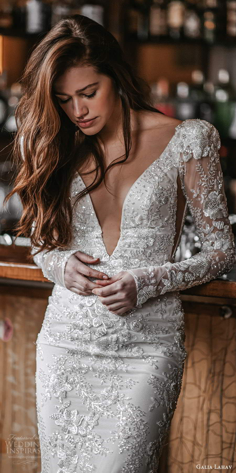 galia lahav spring 2022 gala bridal long puff sleeves plunging v necklne fully embellished sheath wedding dress chapel train (5) lv