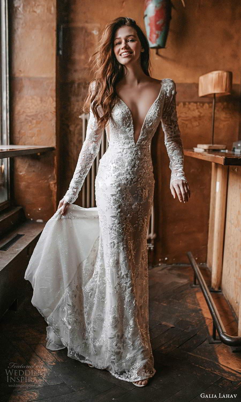 galia lahav spring 2022 gala bridal long puff sleeves plunging v necklne fully embellished sheath wedding dress chapel train (5) mv